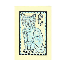Load image into Gallery viewer, Cat Linocut Print - Blue