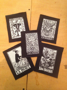 Punk Patch - Moon Tarot Card Sew On Patch - Moon Tarot Patch - Wolf Patch - Jacket Patch -  Tarot Card Patch - Punk Patch - Small Patch