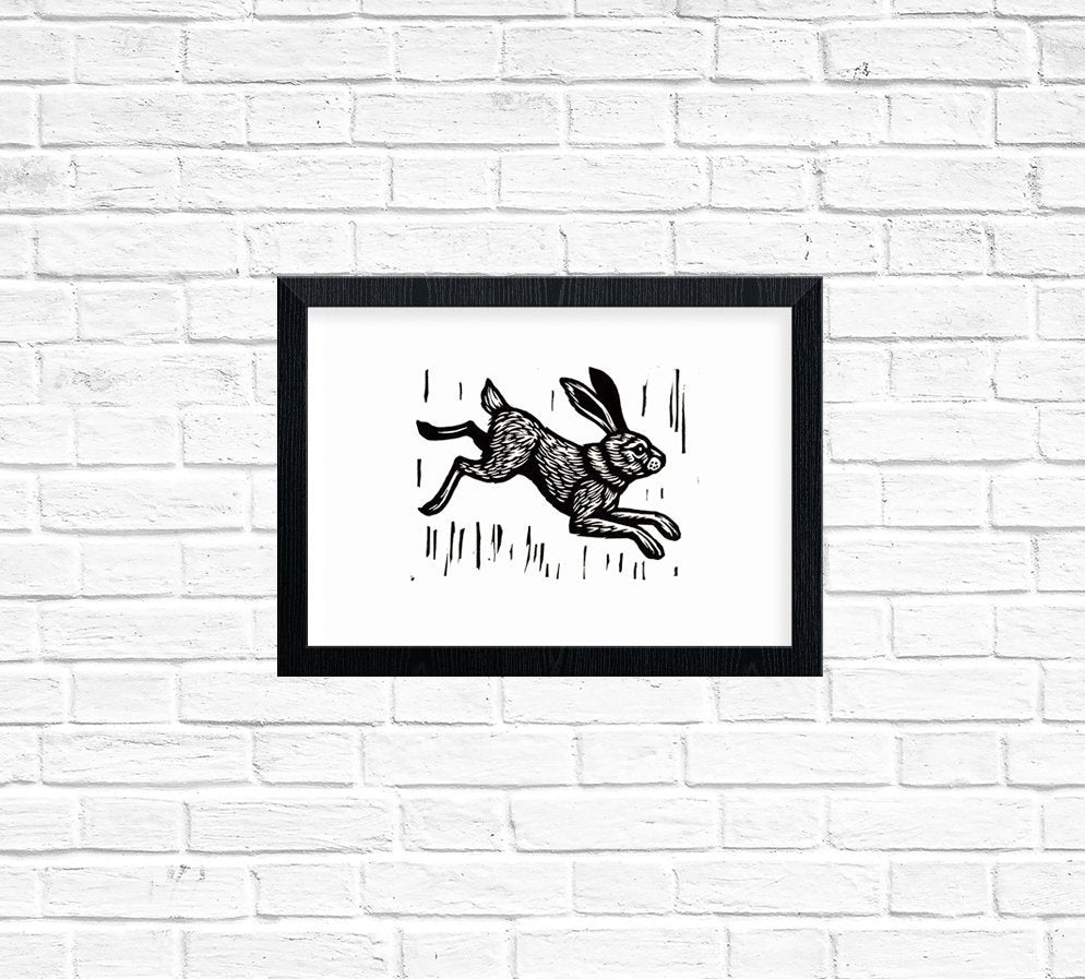 Rabbit Linocut Art Print - Hand Printed Linocut - Wall Decor - Home Decor - Bunny Print - Printmaking - Block Print - Rabbit Art Nursery