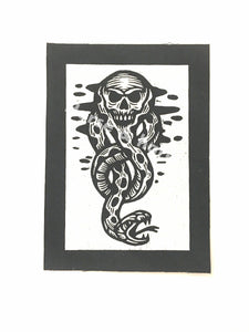 Harry Potter Patch - Dark Mark - Sew On Punk Patch - Snake and Skull Patch - Black and White Canvas Patch - Small Jacket Patches