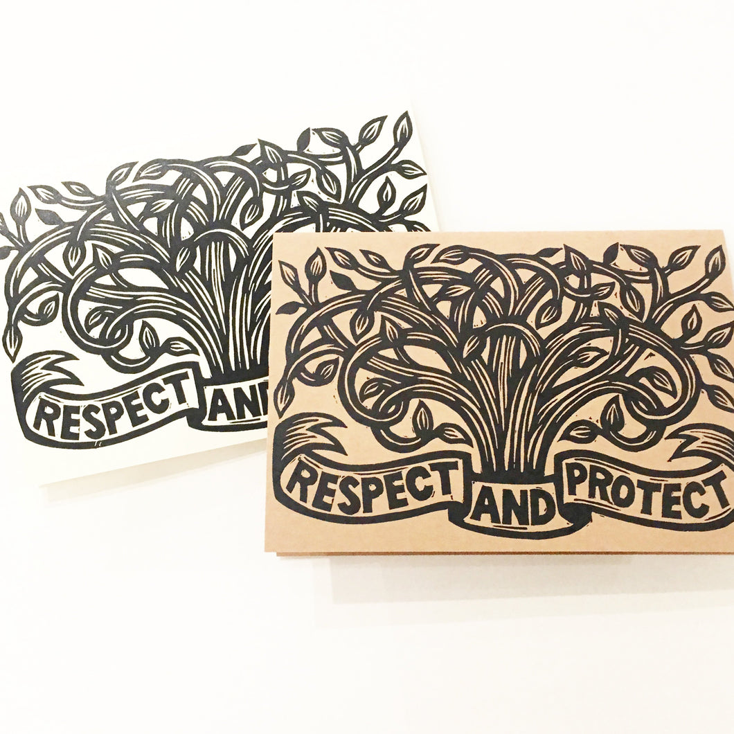 Tree Card - Environmental Preservation Card - Greeting Cards - Tree Notecards - Just Because Cards - Nature Card - Tree Linocut Art - Paper