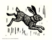 Load image into Gallery viewer, Rabbit Linocut Art Print - Hand Printed Linocut - Wall Decor - Home Decor - Bunny Print - Printmaking - Block Print - Rabbit Art Nursery