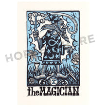 Load image into Gallery viewer, The Magician Tarot Linocut Print - Wizard Art Print - Tarot Art Print - Prints - Linocuts - Goth Art - Magic Art - Harry Potter - Dumbledore