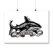 Load image into Gallery viewer, Shark Woodcut Block Print - Art Print - Great White Shark - Jaws - Wall Decor - Home Decor - Beach House - Original Artwork - Kid's Room Art