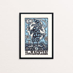 The Magician Tarot Linocut Print - Wizard Art Print - Tarot Art Print - Prints - Linocuts - Goth Art - Magic Art - Harry Potter - Dumbledore