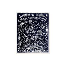 Load image into Gallery viewer, Solar System Woodcut Art Print - Astronomy Home Decor - Stars and Planets Wall Art - 18x24 Print