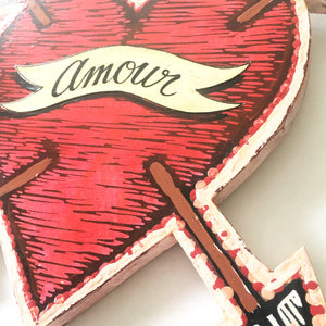 Heart Art - Linocut Heart with Arrows Art - Unusual Valentine's Day Gifts - Anniversary Gifts - Home Decor - Personalized Sign Art