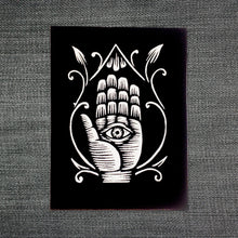 Load image into Gallery viewer, Hamsa - Eye in Hand Patch - Sew On Patch - Hand of Fatima Patch - Evil Eye Patch - Boho Patch - Jacket Patch - Magical Talisman - Patches