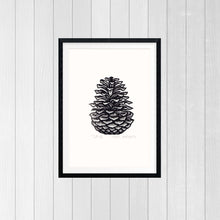 Load image into Gallery viewer, Pinecone Linocut Art Print Home Decor - Living Room Decor - Kitchen Decor - 8x10 Print - Wall Dog