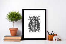 Load image into Gallery viewer, Hamsa Linocut Print
