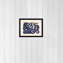 Load image into Gallery viewer, Octopus Art - Octopus Linocut Art Print - Octopus Wall Art - Octopus Linoleum Block Print -  Nautical Art