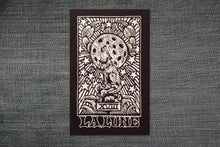 Load image into Gallery viewer, Patches for Denim Jackets - Backpack Patches - Tarot Card Patch - Crust Punk Patch - Moon Tarot - Black and White Screen Printed Patches