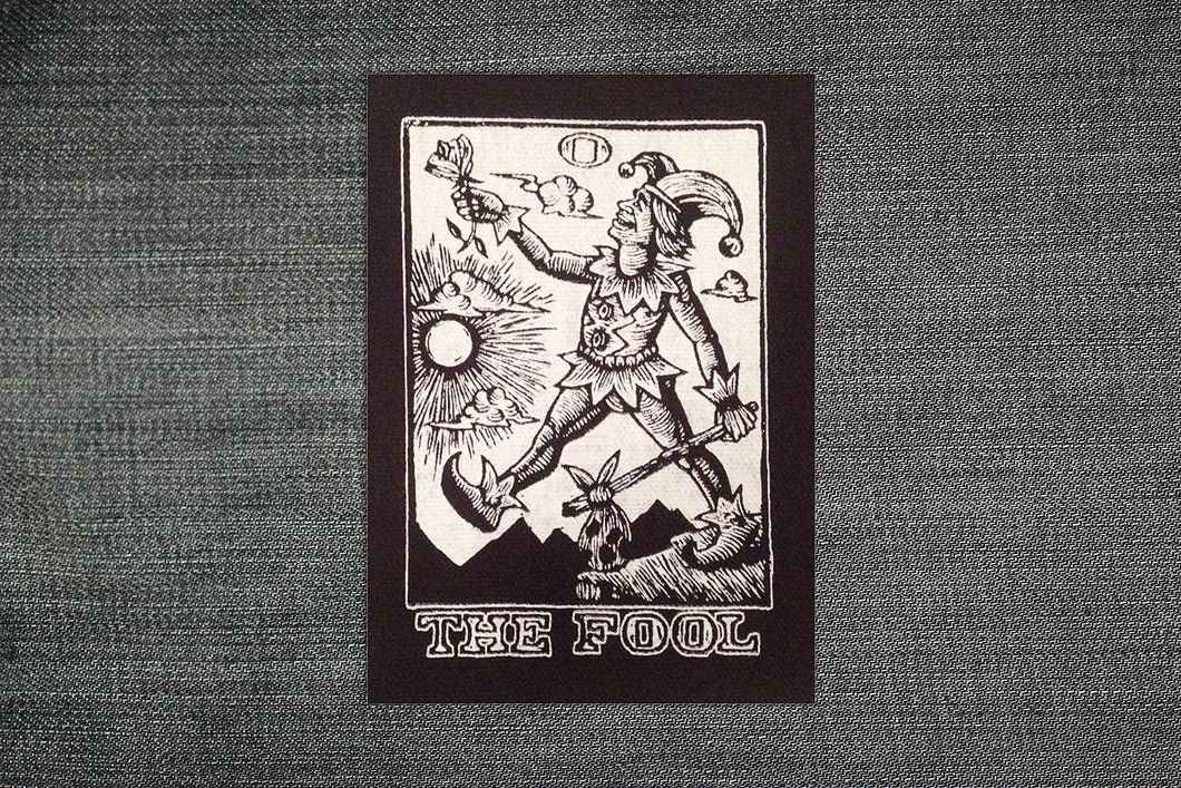 Patches for Jacket - Sew On Black and White Canvas Patch - Tarot Art Patch - The Fool Tarot - Punk Patches