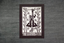 Load image into Gallery viewer, Tarot Card Sew On Punk Patch - Hanged Man Tarot - Black Canvas Patch - Punk Patch - Patches for Backpatches - Jacket Patch - Patches