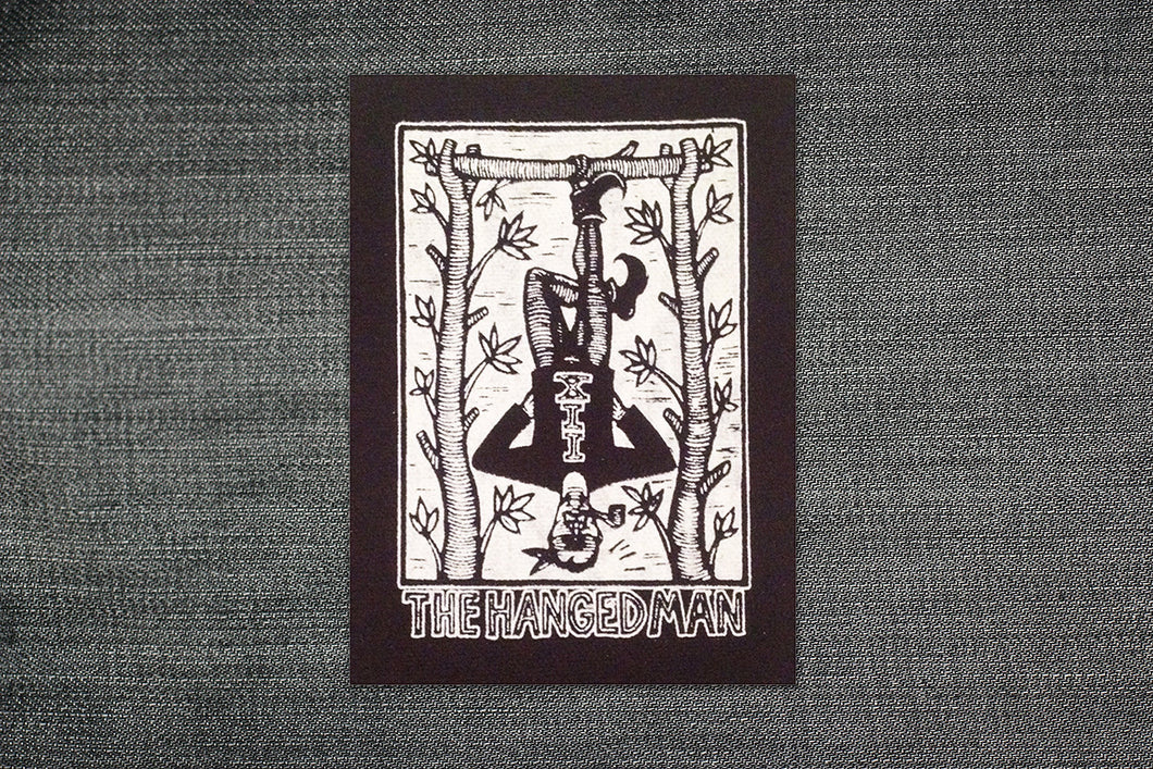 Tarot Card Sew On Punk Patch - Hanged Man Tarot - Black Canvas Patch - Punk Patch - Patches for Backpatches - Jacket Patch - Patches