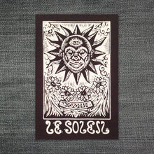 Load image into Gallery viewer, Tarot Card Sew On Patch - Sun Tarot Card - Punk Patch - Black Canvas Patch - Jacket Patch - Sew On Patch - Hippie Patch - Gifts for Teens