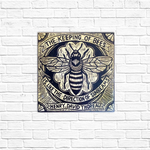 Bee Wall Art - Print on Wood