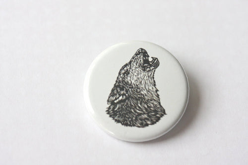 Punk Pin - Lone Wolf Small Pinback Button - Animal Button - Punk Button - Wolf Pack Pin - Wolf Art Button - Pins - Buttons - Wolf Pin