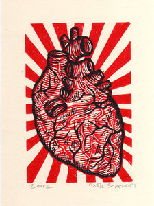 Anatomical Heart Linocut Art Print