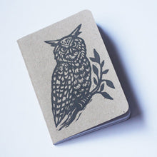 Load image into Gallery viewer, Owl Notebook - Bullet Journal Notebook - Travel Notebook - Pocket Journal - Woodland Owl Linocut - Pocket Notebook - Hand Printed Journal
