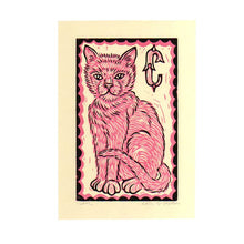 Load image into Gallery viewer, Cat Linocut Art Print