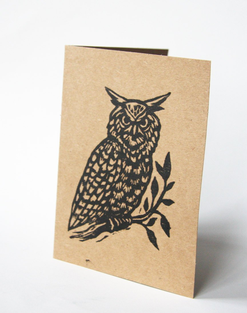 Hand Printed Linocut Owl Blank Greeting Cards on Recycled Brown Kraft Paper - Owl Note Card Set - Sets of Five Greeting Cards - Animal Cards