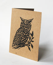 Load image into Gallery viewer, Hand Printed Linocut Owl Blank Greeting Cards on Recycled Brown Kraft Paper - Owl Note Card Set - Sets of Five Greeting Cards - Animal Cards