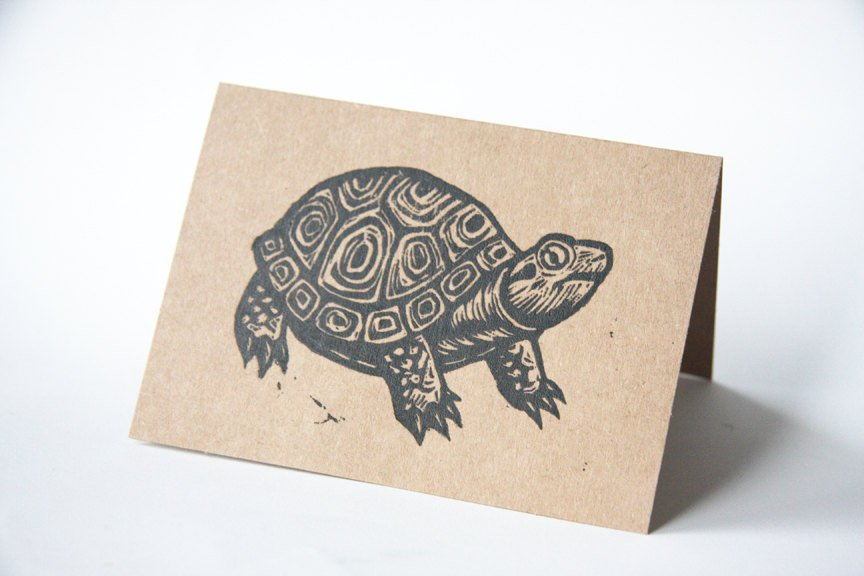 Note Cards - Turtle Note Cards - Linocut Art - Greeting Card - Blank Note Cards - Animal Note Cards - Cards - Greeting Cards - Card Sets