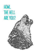 Load image into Gallery viewer, Wolf Art Digitally Printed Paper Postcard - Funny Postcards - Howl the Hell Art You? Linocut Designed Postcard - Cards - Postcards