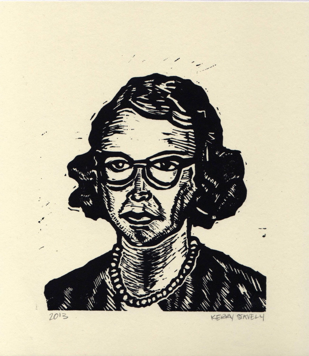 Flannery O'Connor Linocut Print