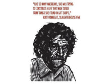 Load image into Gallery viewer, Kurt Vonnegut Quote Postcard, Literary Postcard, Kurt Vonnegut Portrait Quote Postcard, Kurt Vonnegut Linocut Art Postcard - Author Quote