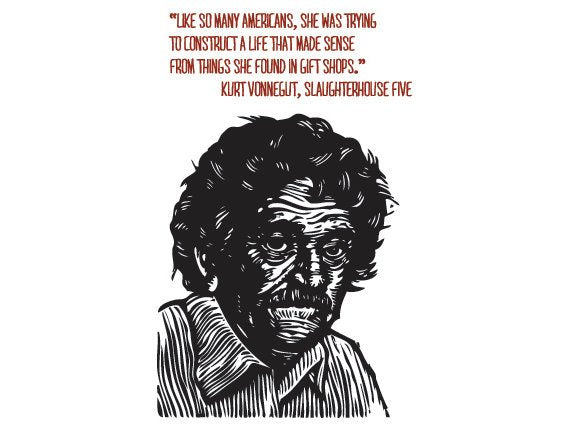 Kurt Vonnegut Quote Postcard, Literary Postcard, Kurt Vonnegut Portrait Quote Postcard, Kurt Vonnegut Linocut Art Postcard - Author Quote