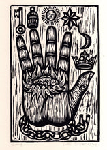 Load image into Gallery viewer, The Philosopher's Hand Woodcut Art Print - Hand of Mystery Print - Free Mason Art  - Home Decor - Woodblock Linocut Print - Occult Art
