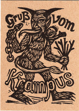 Load image into Gallery viewer, Krampus Linocut Letterpress Postcard - Greetings from Krampus Linocut Postcard - Hand Printed Postcards - Krampus Night Cards - Invitations