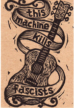 Load image into Gallery viewer, Linocut Postcards 5 Pack This Machine Kills Fascists Letterpress Postcards Woody Guthrie Guitar Linocut - Postcard Set - Hand Printed Cards
