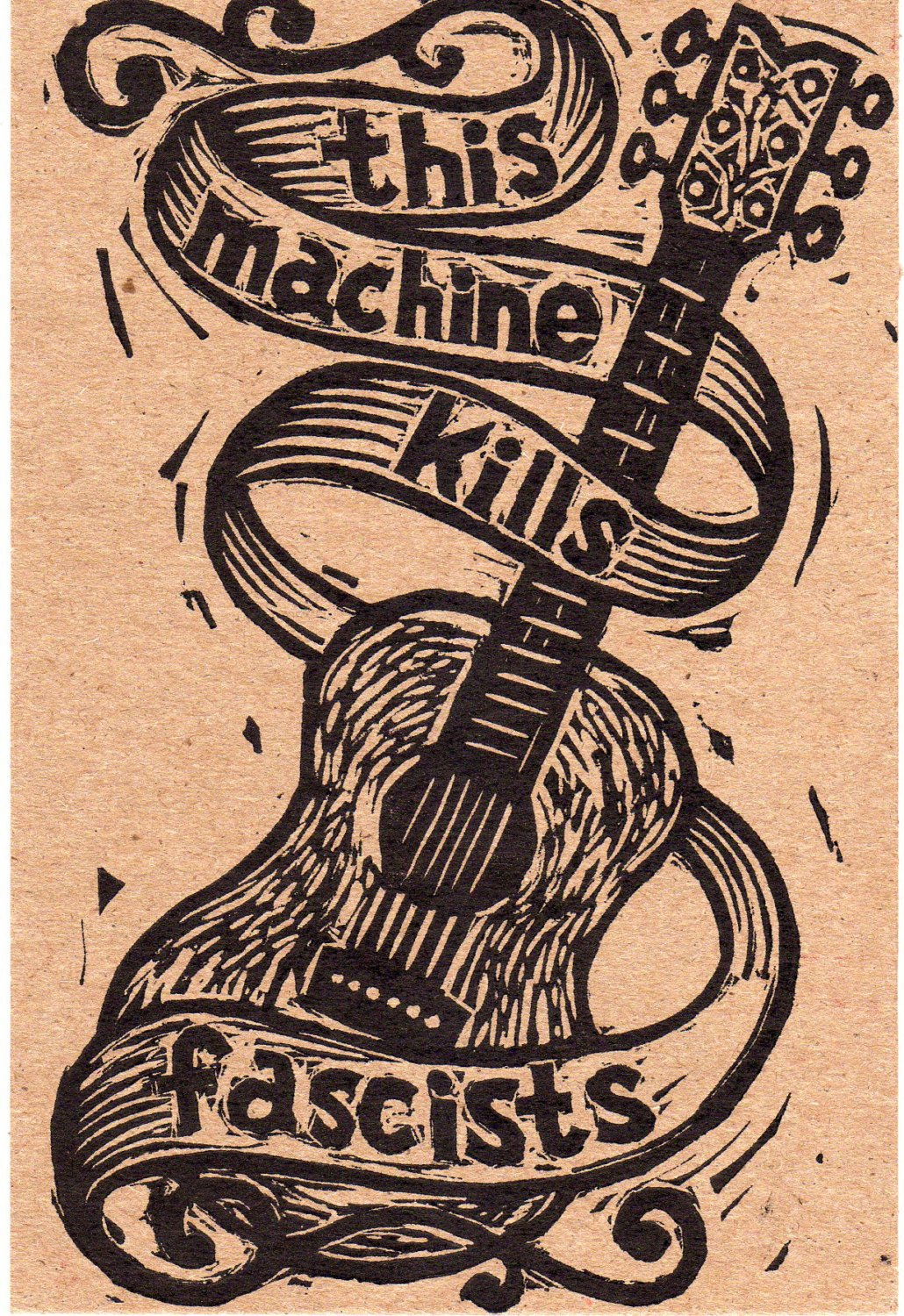Linocut Postcards 5 Pack This Machine Kills Fascists Letterpress Postcards Woody Guthrie Guitar Linocut - Postcard Set - Hand Printed Cards