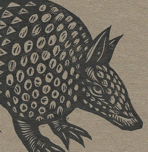 Linocut Armadillo Postcard - Armadillo Linocut Letterpress Postcard - Stationery - Cards - Paper Chipboard - Animal Linocut Cards