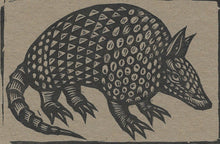 Load image into Gallery viewer, Linocut Armadillo Postcard - Armadillo Linocut Letterpress Postcard - Stationery - Cards - Paper Chipboard - Animal Linocut Cards