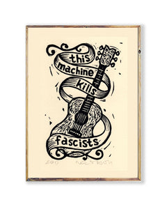 Woody Guthrie - This Machine Kills Fascists Linocut Art Print