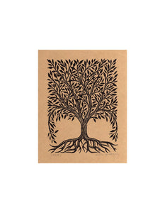 Tree Artwork - Rustic Home Decor - Tree Linocut Art Print - Vintage Style Tree Art