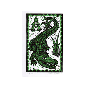 "Alligator 8.5"" x 11"" Linocut Art Print"