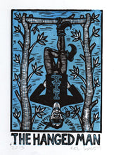 Load image into Gallery viewer, Tarot Art Linocut Print - Hanged Man Tarot Card - Original Handmade Woodcut Print - Occult Art - Goth Art - Linocuts - Block Prints