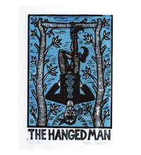 Load image into Gallery viewer, Hanged Man Tarot Card - Linocut Prints - Tarot Card Art - Occult Art - Home Decor - Retro Art - Divination Art - New Age Art - Art under 30