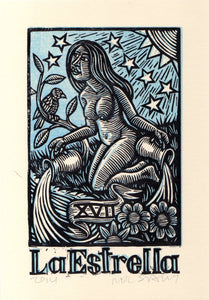 La Estrella (The Star) Tarot Card Linocut Art Print