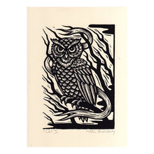 Load image into Gallery viewer, Owl Art Print - Woodcut Art - Bird Prints - Owl Decor - Owl Gifts - 8x11 Woodcut Print
