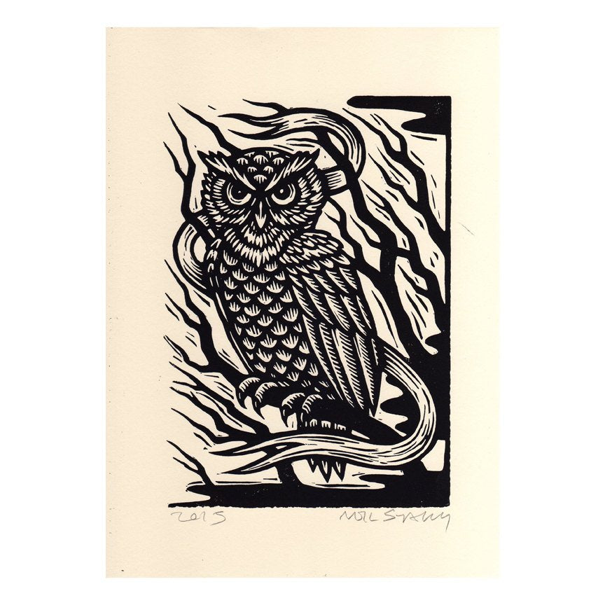 Owl Art Print - Woodcut Art - Bird Prints - Owl Decor - Owl Gifts - 8x11 Woodcut Print