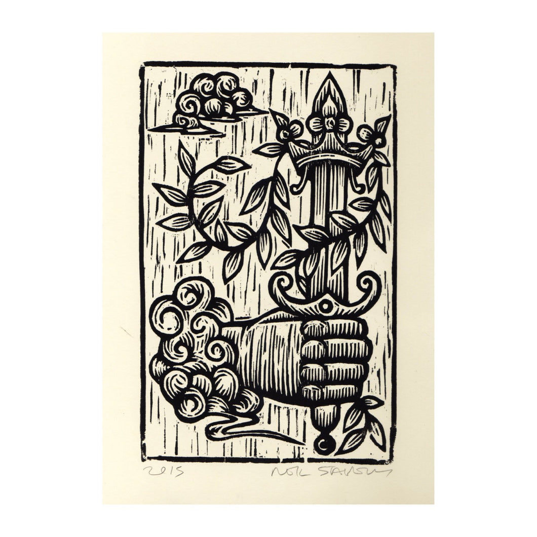 Tarot Art Linocut Print - Ace of Swords Tarot Card -  Original Handmade Woodcut Print, Occult Art - Goth Art - Linocuts - Block Prints