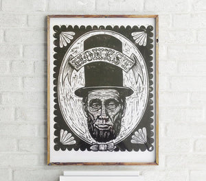 Abraham Lincoln Woodcut