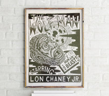 Load image into Gallery viewer, Wolf Man Poster Print - Woodcut Print - Werewolf Art  - Classic Horror Movie Art - Halloween Decor - Halloween Gift - Lon Chaney - Linocut