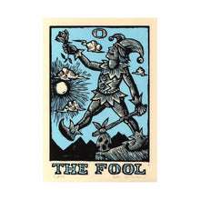 Load image into Gallery viewer, Hand Printed Original Linocut Tarot Card Art Print on Paper - The Fool Tarot Card Print on Paper - Art Under 50